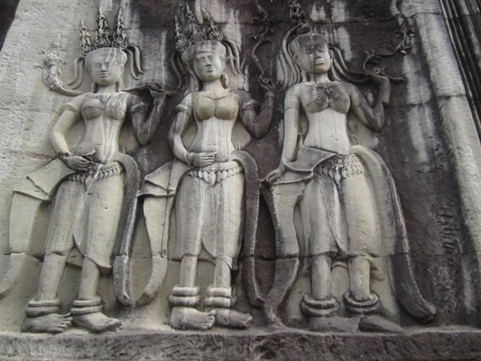 Female Devatas at Angkor Wat